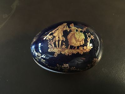 Limoges France Deep Cobalt Blue / Gold Trinket Egg Shaped Box French Colonials