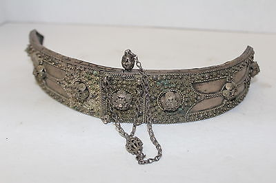 Antique Islamic Caucasian Silver Filigree Gilded Belt Buckle, Turkish Ottoman