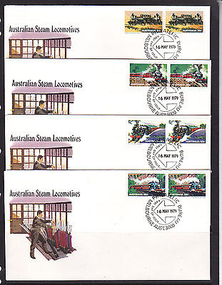 FDCs: 1979 STEAM LOCOMOTIVES SET IN PAIRS. VERY NICE!!!