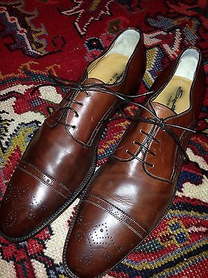 NEW $700 Mens SANTONI Antiqued Perforated Cap Toe Oxfords Leather Shoes Brown 12
