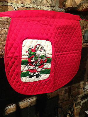Vintage Red Quilted Christmas Apron, Santa Pocket