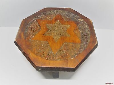 Signed Hand Made Vintage Wooden Foot Stool-Carved Out Star- H. Wenzel
