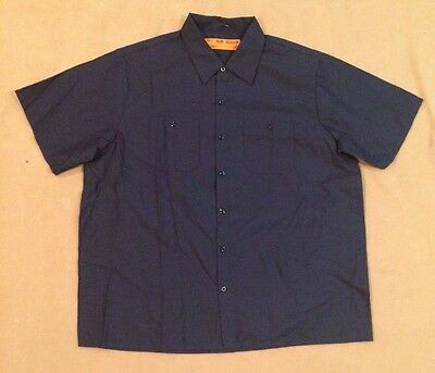 Industrial Work Shirt Men's Mechanic / Technician Uniform Navy Short Sleeve XL