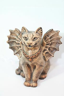 "8"" Winged Cat Gargoyle Sculpture Flap Cat Vintage Windstone Editions Pena 1995"