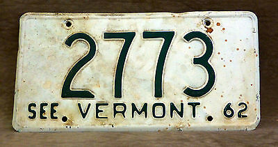 1962 Vermont License Plate Number 2773