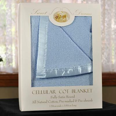 NEW 100% Cotton Blue Cellular Baby Cot Blanket 120x150cm Gift Pack