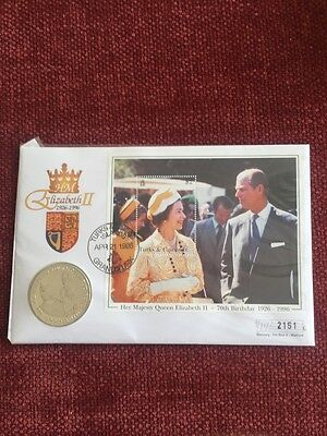 Queen Elizabeth II 70th Birthday $5 Turks & Caicos 1996 First Day Cover Coin