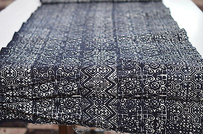 2Yd Hmong Textiles Embroidered Batik Fabric Cotton Handmade Table Runner #53