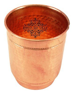 Copper Hammered Glass Tumbler Cup with 2 Rings - Serving Water Benefit Yoga