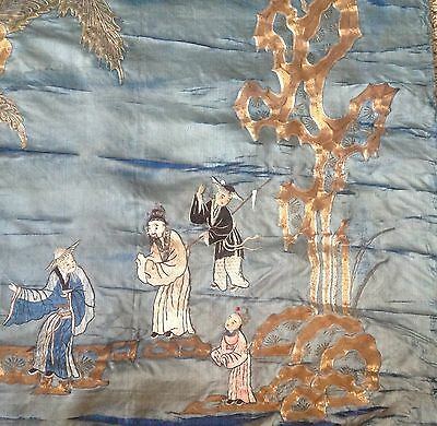 "Extremely old Chinese silk panel w/gold-silver thread embroidery 75""Long Antique"