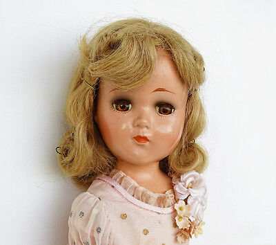 "GORGEOUS AND ALL ORIGINAL!!! Vintage 1940's ""NANCY"" 18"" Compo. Doll by Arranbee"