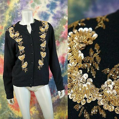 VTG 80's does 50's Gold Beaded & Sequin Lambswool Angora Cardigan Sweater L