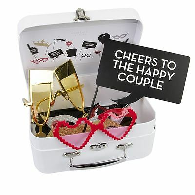 Talking Tables Wedding Selfie 14 Pc Photo Booth Props Signs Kit with Carry Case