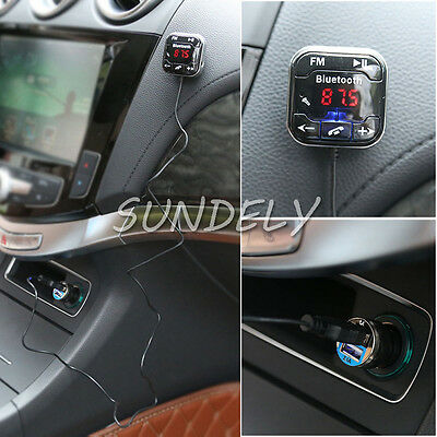 Transmitter FM Bluetooth 4.0 Handsfree Car Kit MP3 Player & USB Charger Magnetic