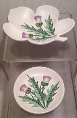 Pair of Scottish Thistle Pattern Pottery Trinket Dishes