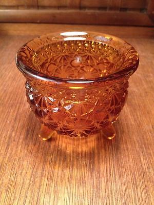 Lg wright  amber glass footed cauldron  Daisy and buttons