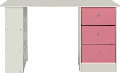 New Malibu 3 Drawer Desk - Pink on White.