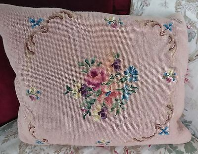 ANTIQUE PINK NEEDLEPOINT ROSES FLORAL PILLOW 2 SIDES w FEATHERS VINTAGE COTTAGE