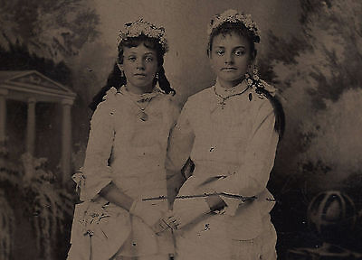 OLD VINTAGE ANTIQUE TINTYPE PHOTO of TWO PRETTY YOUNG GIRLS w/ FLOWERS IN HAIR
