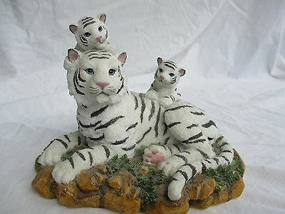 Figurine, White Siberian Snow Tiger Lying Down With 2 Cubs