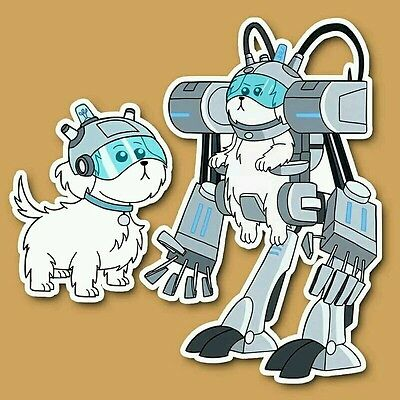 Lot of 2 Rick and Morty Snuffles Lawnmower Dog Vinyl Decal Stickers - Adult Swim