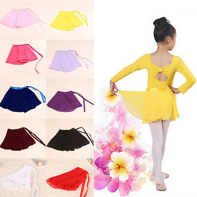 Kids Girl Chiffon Ballet Leotard Tutu Skirt Dance Skate Wrap Scarf Costume Dress