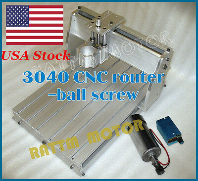 【USA Stock】 New 3040 CNC Router Milling Machine Ballscrew Frame+300W DC Spindle