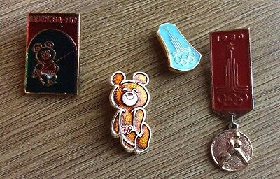 Moscow 1980 Olympics Pin Badges Enamel Bundle, 4 In Total