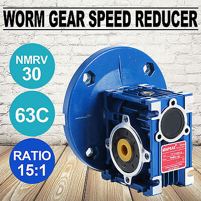 0.38HP Aluminum Worm Gear 56C Speed Reducer Gearbox Ratio 15:1 Superior New