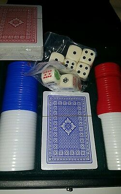 80  Deluxe Poker Chips Set plus Case and 2 packs Game Cards  & Casino Dice