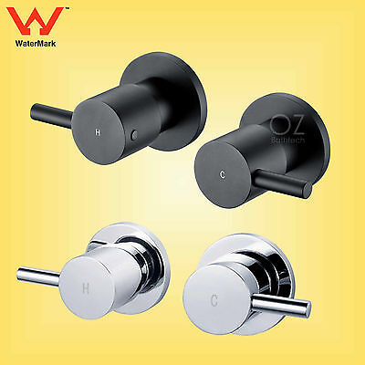 Bathroom Brass Black Chrome Round 1/4 Turn Hot Cold Twin Taps for Shower Head