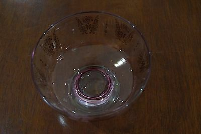 1960's Dessert  Bowls Pink Glass with gold print Set of 6