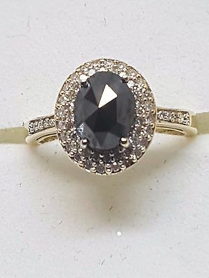 100% Genuine 9Ct Y/gold Diamond Halo & Black Stone Ring - Beautiful Size L