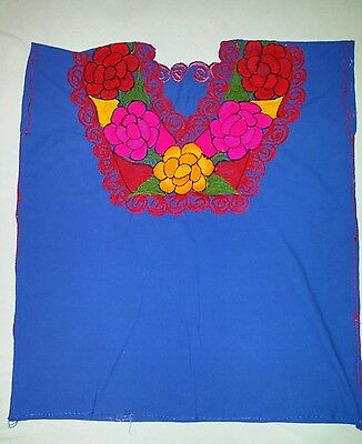 Hand Embroidered Mexican Artisanal Blouse Shirt Traditional Chiapas.