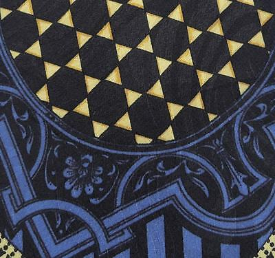 V2 By Versace Tie Jacquard Silk Scarf Pattern Blue Yellow Dress Necktie Italy