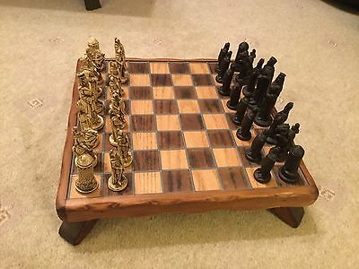 Hand Made Wooden  chess board and Resin Chess Pieces