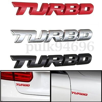 Car Red/Silver/Black 3D Metal Turbo Logo Badge Emblem Sticker Decal Decor for VW