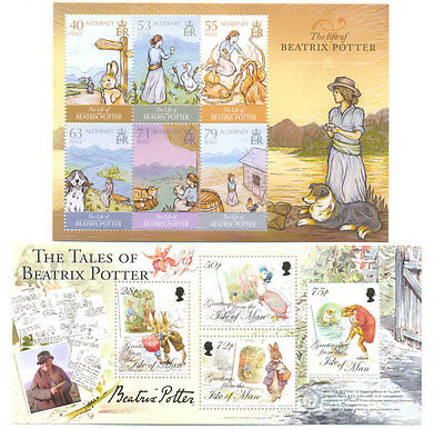 Beatrix Potter-Writer-Author-Literature-Isle of Man & Alderney 2min sheets mnh