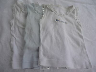 Marquise singlets (x3) white blue trains - Size 0000