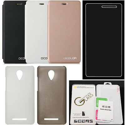 For Leagoo Z5 Tempered Glass Screen Protector + PU Leather PC Hard Cover Case