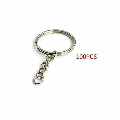 "Yueton Pack of 100 25mm/0.98"" Split Key Ring with Chain (rings) (Key Chain)"