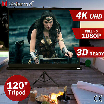 "120"" Projector Screen Tripod Stand TV HD Conference Presentation Projection 16:9"