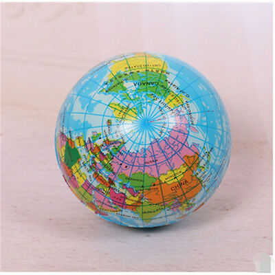 """2.91""""  Ball Stress Relief  Squeeze  Earth Globe  Hand Exercise  World Map  Foam"""