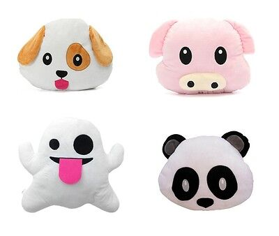 Emoji Panda Dog Pig Ghost Pillow Smiley Emoticon Cushion Stuffed Colorful Plush