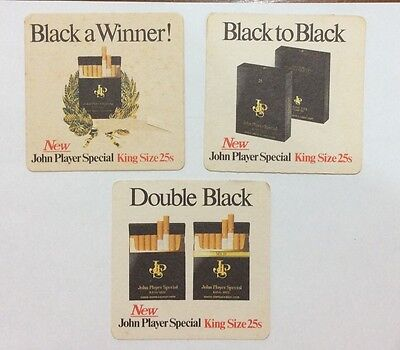 3 X NEW JOHN PLAYER SPECIAL KING SIZE 25s COASTERS,BLACK A WINNER,DOUBLE BLACK