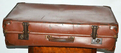 Vintage English Brown Leatherette Expanding Suitcase Luggage Trunk [PL3034]