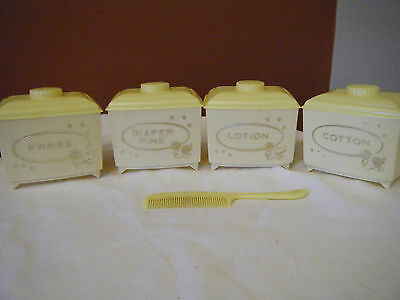 Plastic Baby Dresser Set Diaper Pins Lotion Swabs Cotton Yellow made by Sanitoy