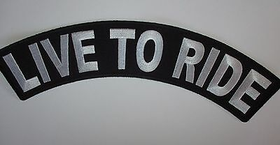 Live To Ride Large Rocker back Patch Sew/Iron Rider biker vest Motorcycle