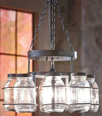 Rustic Primitive Country Wrought Iron Mason Canning No Jars Chandelier Lamp NEW