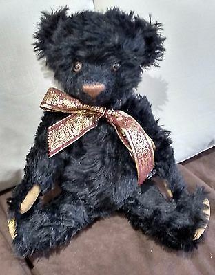 "Merrythought Wellington Black Teddy Bear With Growl - 17"" - 19 Of 250 - New"